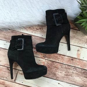Via spiga black leather suede heeled ankle boots